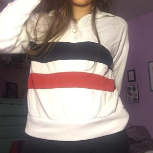 👽 Crew neck Zip Up Jacket Striped Red and Blue